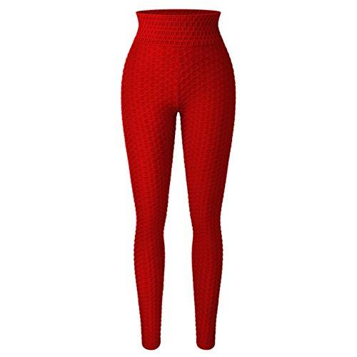 YIFEID Leggings Mujer Pantalones De Yoga De La Cintura Alta De Las Mujeres Control De La Abdomen Partidones De Entrenamiento del Estiramiento Maletas De Botín con Textura