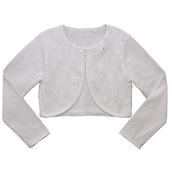 Bonnie Jean Girl s Long Sleeve Sweater Cardigan for Toddler Little and Big Girls White Lace 4T