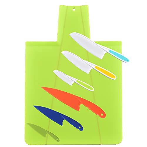 Tallgoo Cuchillos de Cocina para niños,Juego de Cuchillos de Cocina, Juego de cuchillos de cocina de plástico 7 piezas,Cuchillos de Cocina Seguros para niños