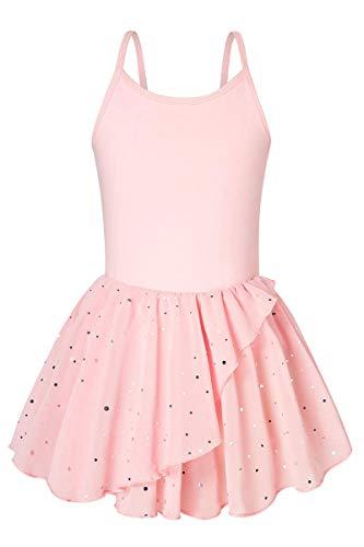Ballet Dance Leotards for Girls Pink with Skirt 6-7 Sparkly Ballerina Dress Outfit for Girls 7-8 Gymnastics Skirted Leotards Size 6 7