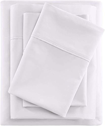 Loom Atrium Bed Sheet Set 800-Thread-Count 100% Cotton Hotel Sheets 4 Pc Queen White Bedding with 2 Pillowcases, Soft Sheets for Kids & Adult Bed Covers, Fits Mattress Upto 18'' Deep Pocket