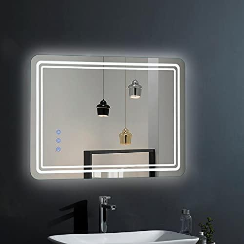 WOOHSE Espejo De Baño LED Iluminación 50x70CM 54W 3000LM, Interruptor Táctil Dimable, Espejo pared, IP45 Impermeable y Antivaho, Función de memoria, Espejo de Luz con 3 colores claros