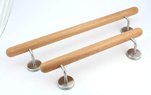 Holz-Handlauf Set mit halbrunden Abschlüssen und Haltern 50-250cm am Stück (Eiche, 50cm)