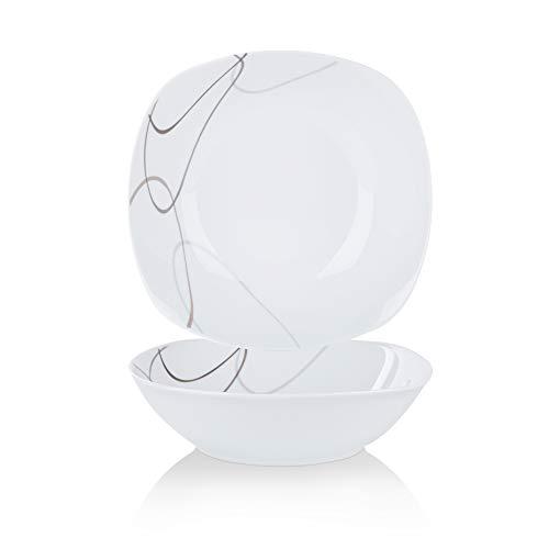 VEWEET Service de Table Nikita 18pièces en Porcelaine Blanc et Gris Ligne carré de Table Lot de 15,2x 24,8cm Assiette 15,2x 19,1cm Assiette à Dessert 15,2x 21,6cm Assiette Creuse