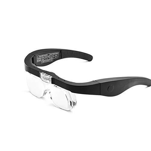 2 LED Wiederaufladbar Lupenbrille Kopflupe Mit Licht - 1,5~5X Abnehmbare Linsen – Kopfbandlupe Stirnlupe Brillenlupe Mit Beleuchtung Für Brillenträger, Lesen, Handwerk, Juweliere, Nähen