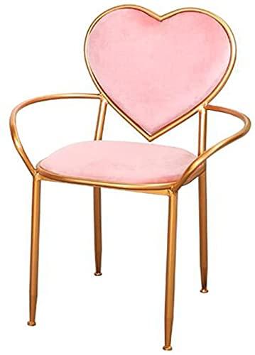 Chilequano Silla de maquillaje con forma de corazón rosa minimalista nórdica - sillones creativos de hierro, silla de comedor, silla de salón de balcón, silla de guarda dorada, silla, sencillo, dormit