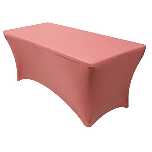 "Your Chair Covers - Stretch Spandex 6 ft Rectangular Table Cover - Coral, 72"" Length x 30"" Width x 30"" Height Fitted Tablecloth for Standard Folding Tables,Party Table Cloth"