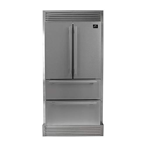 36″ Moena Refrigerator 19.2 cu.ft. FORNO ALTA QUALITA Freestanding French Doors With Ice Maker and Decorative Grill Trim Kit