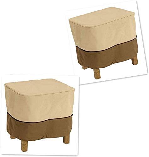 Cubierta cuadrada para mesa auxiliar de jardín Cubierta otomana impermeable para exteriores con asas acolchadas 66x66x43cm Cubierta para mesa auxiliar Fundas para muebles Beige y café 2 unidades
