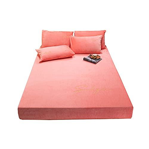 wkd-thvb Ropa de cama elástica sábana bajera de terciopelo de cristal, color sólido, 1 unidad, para el hogar, invierno, cálido, suave, colcha bordada, rosa, 90 x 200 cm