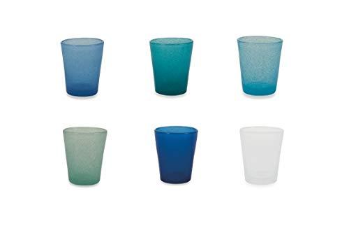 Villa d'Este Home Tivoli Cancun Satin Set Bicchieri Acqua, 6x330 ml, Multicolore (Marea), 8x10 cm, 6 unità