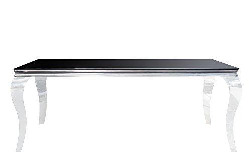 DuNord Design eettafel glazen tafel zwart zilver 180cm Louis barok facetgeslepen eetkamer