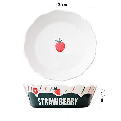 Niedliche Obstsalatschale Hauptfrühstück Keramikschale Frühstücksschale Haferflocken-Erdbeerschale Einfache Spitzenschale