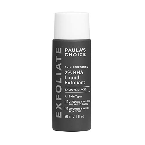 Paula's Choice Skin Perfecting 2% BHA Liquid Salicylic Acid Exfoliant, Gentle Facial Exfoliator for Blackheads, Large Pores, Wrinkles & Fine Lines, Travel Size, 1 Fluid Ounce - PACKAGING MAY VARY