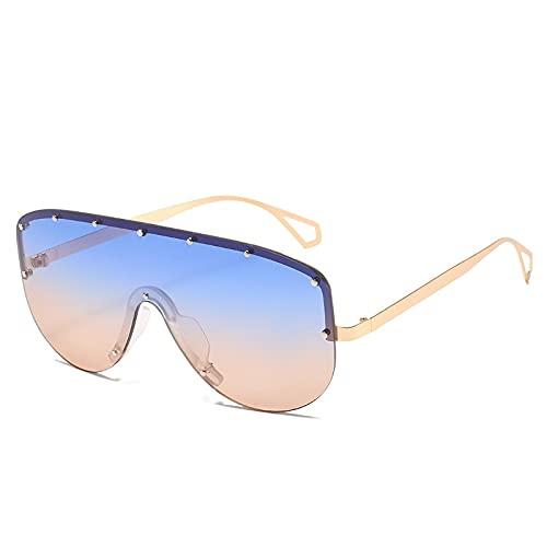 Gafas de sol cuadradas sin montura de gran tamaño con gradiente de espejo Uv400 con marco de aleación para mujer, gafas de sol de una pieza con escudo grande, azul