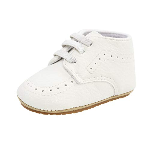 Julhold Zapatos de deporte para niños y niñas con suela de goma antideslizante y suela suave para caminar al aire libre, color Blanco, talla 19 EU