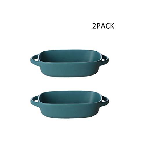 2 Pcs Céramique Grès Four Plat De Cuisson Plateau Rectangulaire Fromage Risotto Bol Assiette Cuisine Vaisselle (Color : Blue-2)