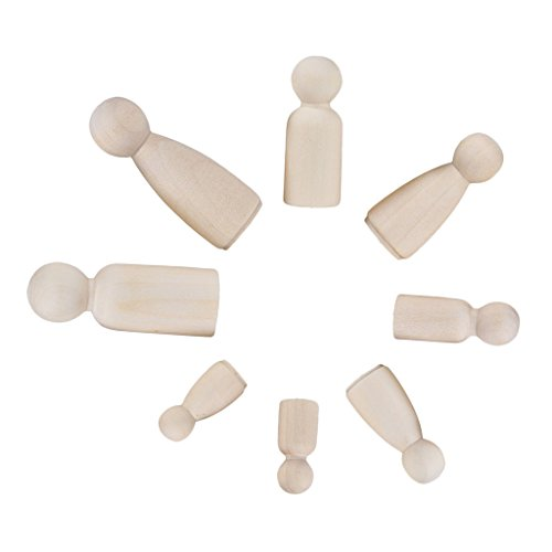 Sharplace 12er Set Männchen Weiblichen Familie Holzfiguren Spielfiguren Puppen Krippenfiguren zum Bemalen Basteln