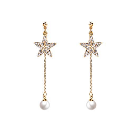 Drop Dangle Earrings Silver Needle Pentagram Pearl Tassel Pendant Studs Earrings Jewelry Gifts for Women Girls