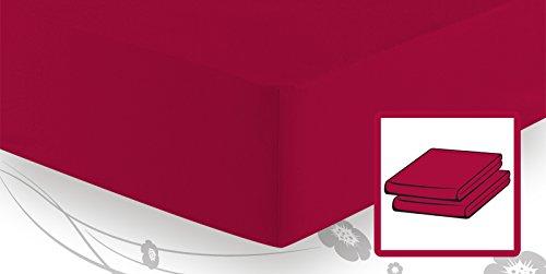 schlafgut Elastic-Jersey Topper Spannbetttuch/Spannbettlaken 180/200x200/220,Kirsche