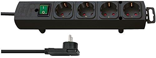 Brennenstuhl Comfort-Line Plus, Steckdosenleiste 4-fach (mit Flachstecker, Schalter, 2m Kabel und extra breite Abstände der Steckdosen) schwarz