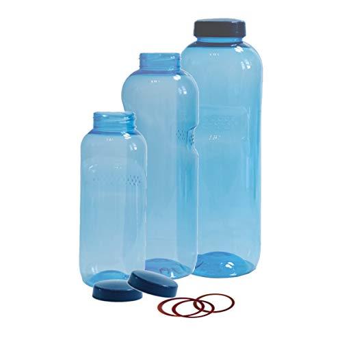 3 x Original Kavodrink Trinkflaschen (rund) aus TRITAN 100% ohne Weichmacher im CO2-Sparset: 1x 1 Liter, 1x 0,75 Liter, 1x 0,5 Liter + 3 Standarddeckel + 3 Silikonringe