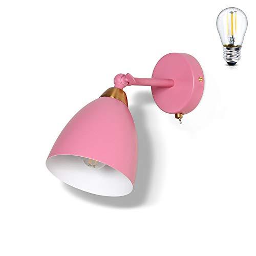 MantoLite Lámpara de Pared Con Interruptor Apliques de Pared Modernos Retro Industrial de Metal Art Deco E27 Base Para Dormitorio, Cocina, Restaurante, Cafetería, Pasillo (Rosa, Bombilla Incluida)