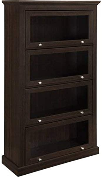 Spacious 4 Shelf Bookcase W Sliding Glass Doors Silver Handles Made Of Laminated MDF Decorative Molding Massive Sturdy Frame Wall Anchor Kit Included Rich Dark Brown Finish Expert Home Guide