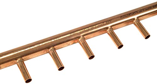 Zurn QHCM84-12 Copper Manifold Header, 2' Header with Sweat 3/4' Outlets, Pack of 2