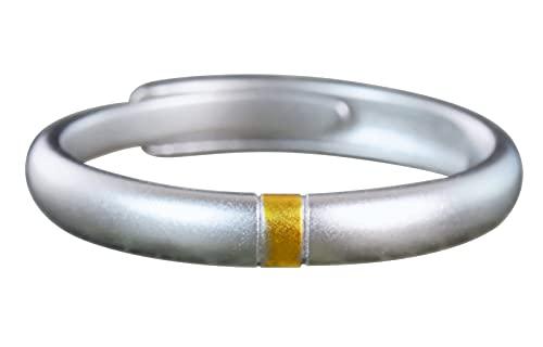 NicoWerk Damen Silberring Schlicht aus 925 Sterling Silber Schmal Golden Matt Bandring Verstellbar Offen SRI691