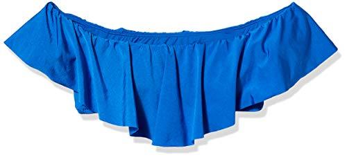 Trina Turk Women's Getaway Solids Off-The-Shoulder Bandeau Bra Bikini Top, Ocean, 0