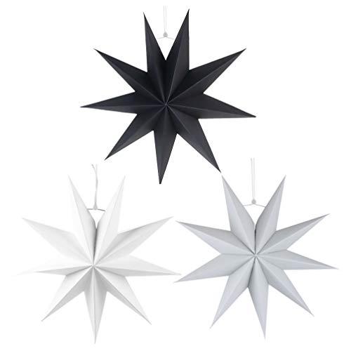 SOLUSTRE 3 Stücke Papierstern Lampe 60cm Papier Weihnachtssterne mit Beleuchtung 3D Leuchtstern Fensterdeko Stern Weihnachten Beleuchtet Christbaumspitze für Neujahr Silvester Party Deko Zufällig