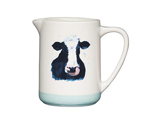 Kitchen Craft Apple Farm-Brocca per Latte Cora Cow, rifinita a Mano, in Ceramica, 500 ml, Colore: Panna/Verde, Multicolore, 8.5 x 13.5 x 11.8 cm