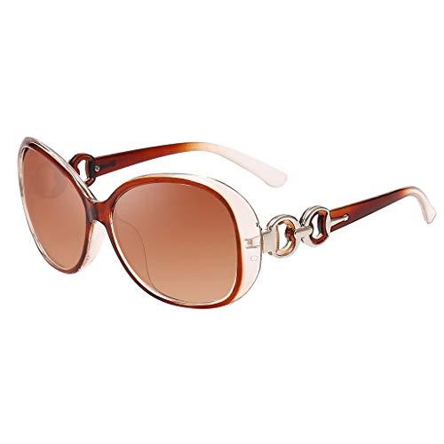 Frauen Katzenaugen Retro Ovale Sonnenbrille YWLINK - UV Schutzbrillen für Damen Farbton Brillen (D)