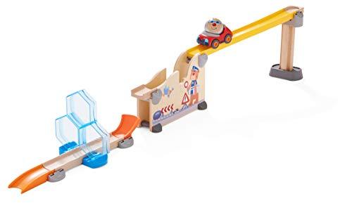 HABA 304802 - Kullerbü – Spielbahn Crashtest, Holzkugelbahn mit Crashrampe, Sprungschanze und Schwungrampe, Motorikspielzeug ab 2 Jahren