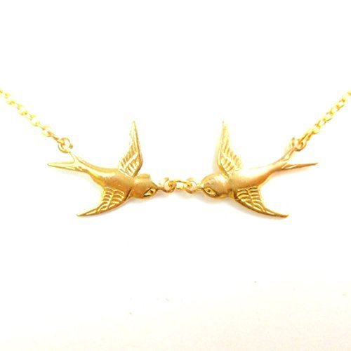 Arry Tattoo collana, collana doppia rondine, due uccelli Swalow oro collana, collana, TATTOO Birds Rockabilly vintage stili