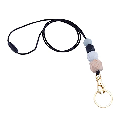 Silicone Beaded Lanyard for Women & Teacher, Fashion Safety Breakaway Neck Lanyards Key Chain Holder with Key Ring for Keys / ID Badges, Cute Lanyard Necklace for Teachers Employees Students Girls (A)