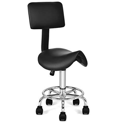 GOPLUS Sattelhocker Arbeitsstuhl Sitzstuhl höhenverstellbarer Friseurstuhl Drehstuhl mit Rollen, Farbewahl 81-96 x 37 x 34 cm (Schwarz)