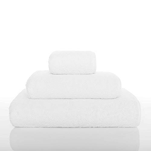 """Graccioza Long Double Loop Wash Cloth (12"""" x 12"""") - White - Made in Portugal, 700-GSM, 100% Egyptian Cotton"""