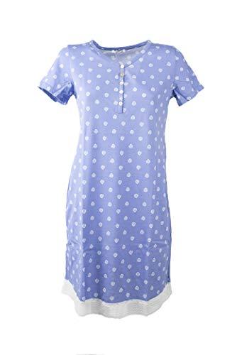 Verdissima Camicia da Notte GE27 Manica Corta a Serafino Donna in Puro Cotone (XS, 00489 Jeans)
