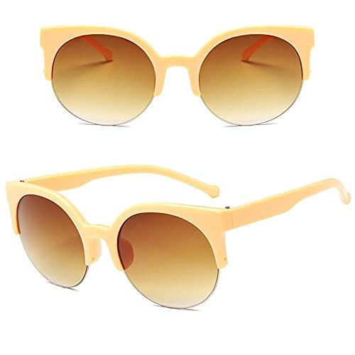 WQZYY&ASDCD Gafas de Sol Gafas De Sol Redondas Clásicas para Mujer, Gafas De Sol De Plástico De Lujo para Mujer, Gafas De Sol para Hombre, Tonos Retro, Al Aire Libre, Beige