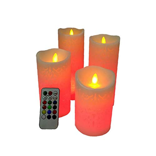 LED Flameless Candles Real Wax Flameless Color Changing Candles with 18-Key Timer Electronic LED Artificial Candle Lights Battery Operated Candles Outdoor Indoor Festive Wedding