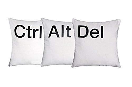 'Ctrl Alt Del' Set von 3 Kissenbezüge Weiß Chenille Baumwolle Mit Schwarz Aufdruck Buchstaben
