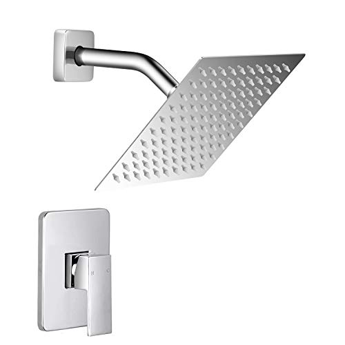 Qomolangma 8 inches Single Function Shower Trim Kit with Rough-In Valve,Chrome Shower Faucet Set,Bathroom Rainfall Shower System with Stainless Steel Metal Showerhead