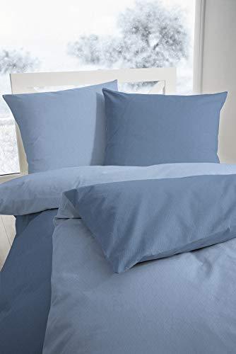 Primera Edelflanell Biber Bettwäsche 155x220 Wende Uni stahlblau blau 174128-33