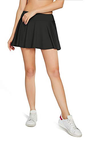 Westkun Damen Tennisrock Skirt Minirock Sport Fitness Yoga Skort(Schwarz,S)