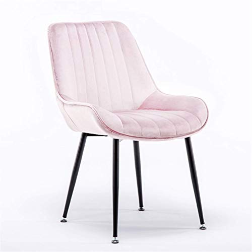 Dining Chairs Velvet Seat Soft Ergonomics Backrest Sturdy Metal Legs Office Chair Counter Lounge Living Room/Cafe Furniture (Color : Pink)