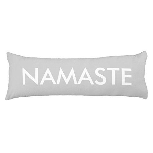 Eongo Inspirational Grey White Namaste Body Pillow Case Cover with Zippered Cotton Pillow Sham for Bed