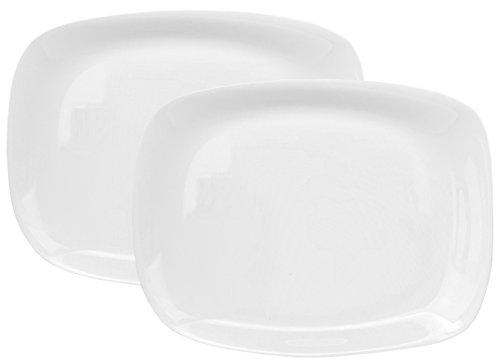 Bormioli Rocco Parma 2er Set Servierplatte, 325 x 240 x 23 mm, Servierteller aus weißem Opalglas, rechteckig, zeitlos-Elegantes Design