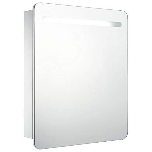 vidaXL Armario de Cuarto de Baño con Espejo y LED Mobiliario Hogar Accesorios Muebles Organización Almacenamiento Estilo Moderno Funcional 68x9x80cm